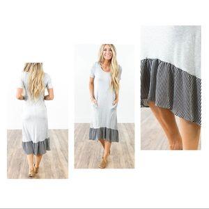 Dresses - ☀️🌵💕French stripe trim pocket dress size large
